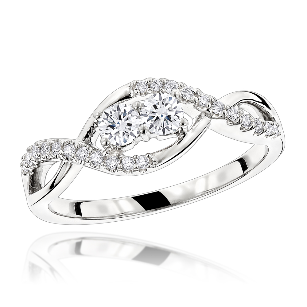 Unique 14K Gold 2 Stone Diamond Infinity Ring for Women by Luxurman 0.4ct White Image