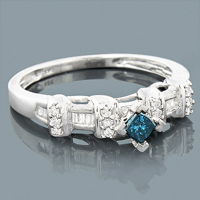 Unique 14K Gold Blue Princess Cut Diamond Ring 0.41ct Main Image