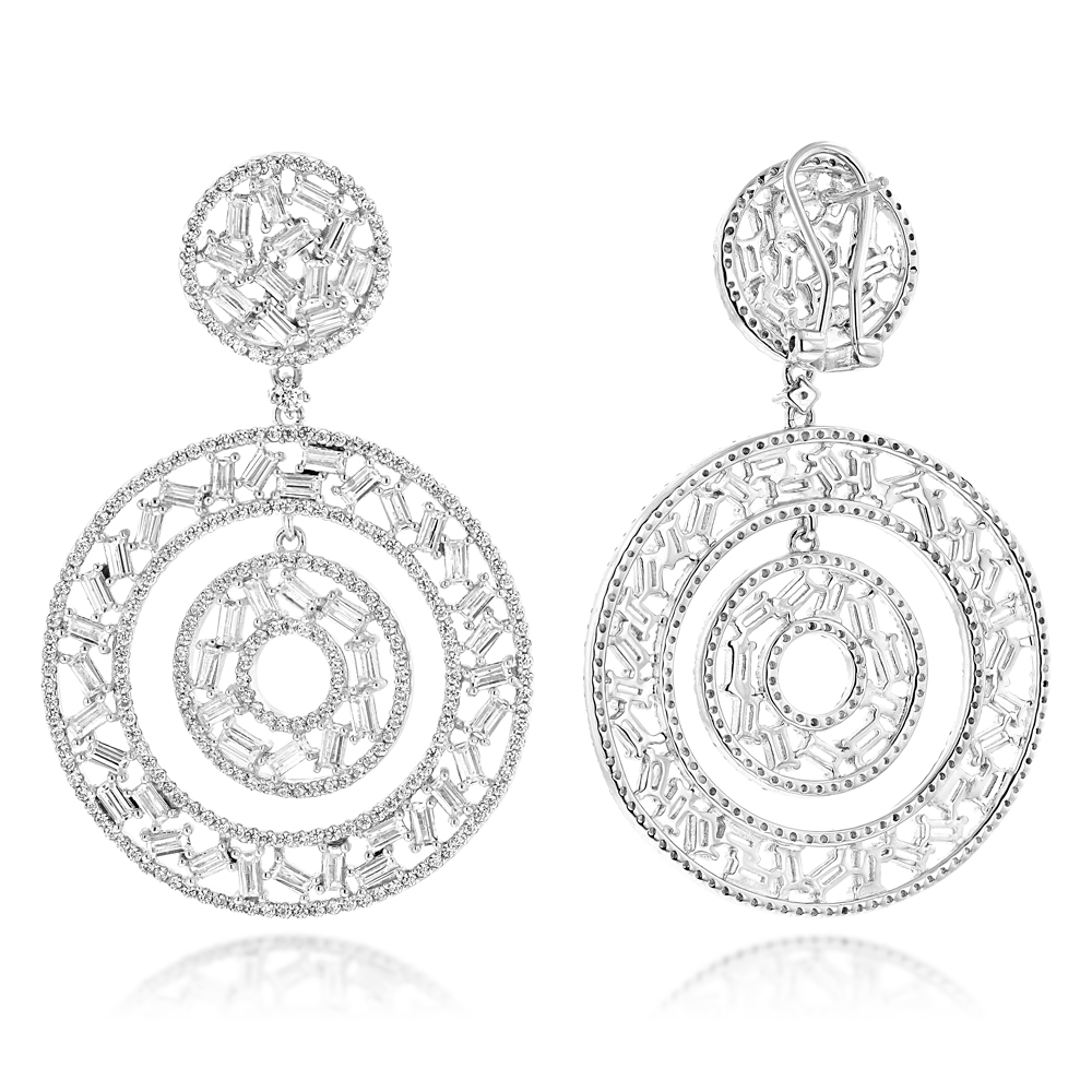Unique 14K Gold Designer Baguette Round Diamond Earrings for Women 7ct White Image