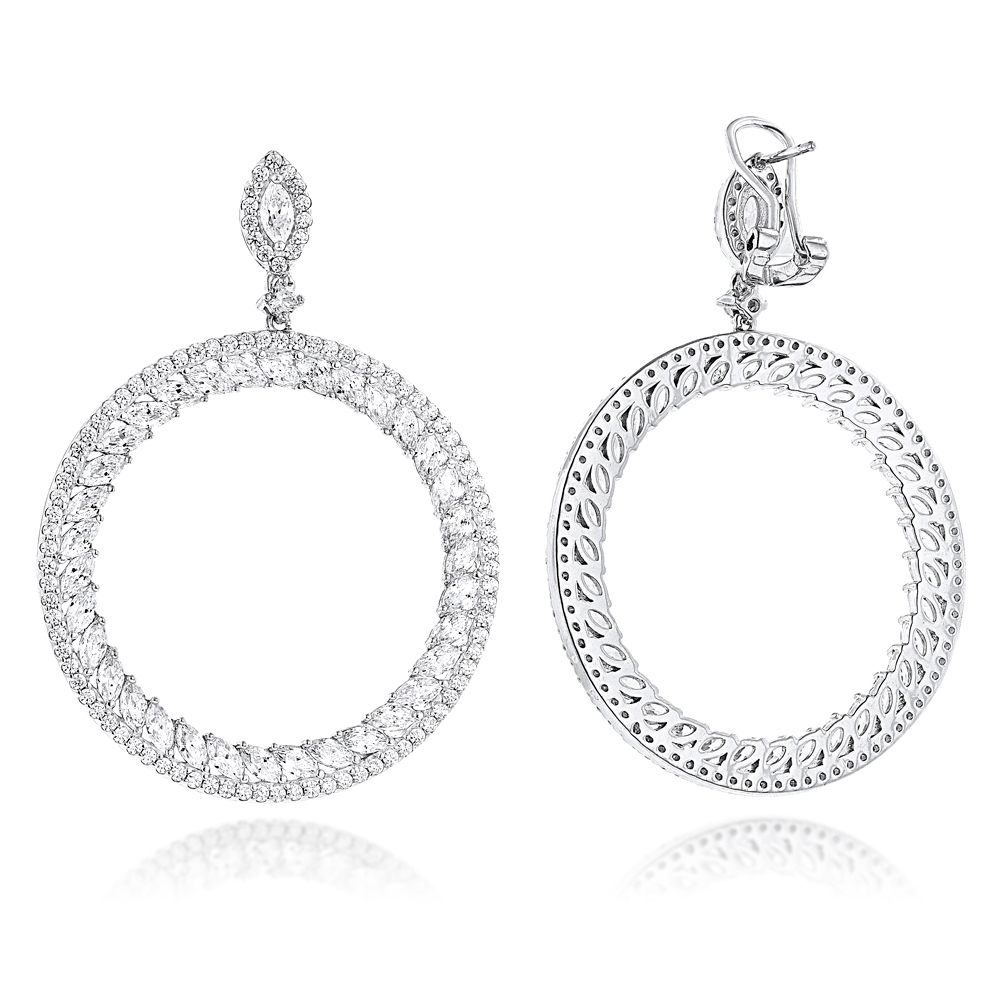 Unique 14K Gold Designer Circle Diamond Drop Earrings for Women 7ct