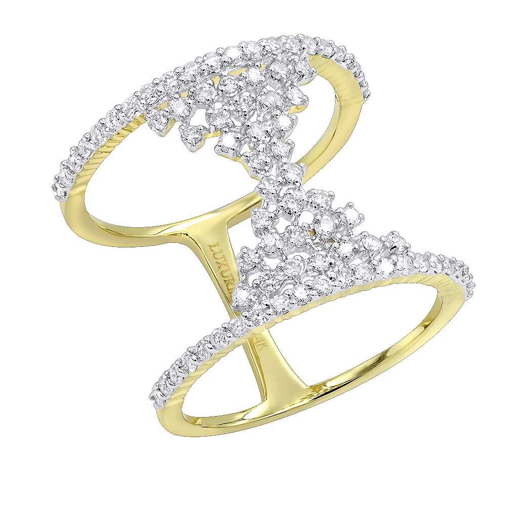 Unique 14K Gold Designer Diamond Cocktail Ring for Women 0.75ct by Luxurman Yellow Image