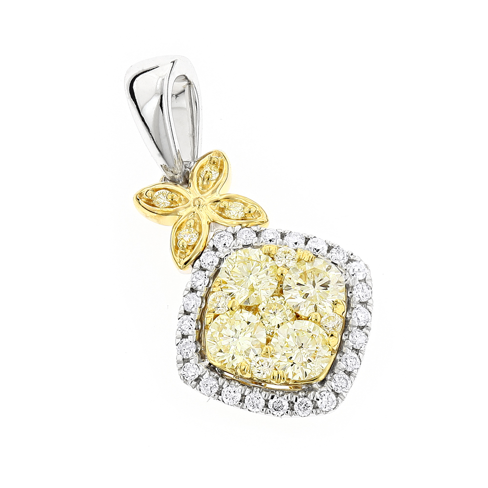 Unique 14K Gold Designer White Yellow Diamond Womens Pendant by Luxurman White Image