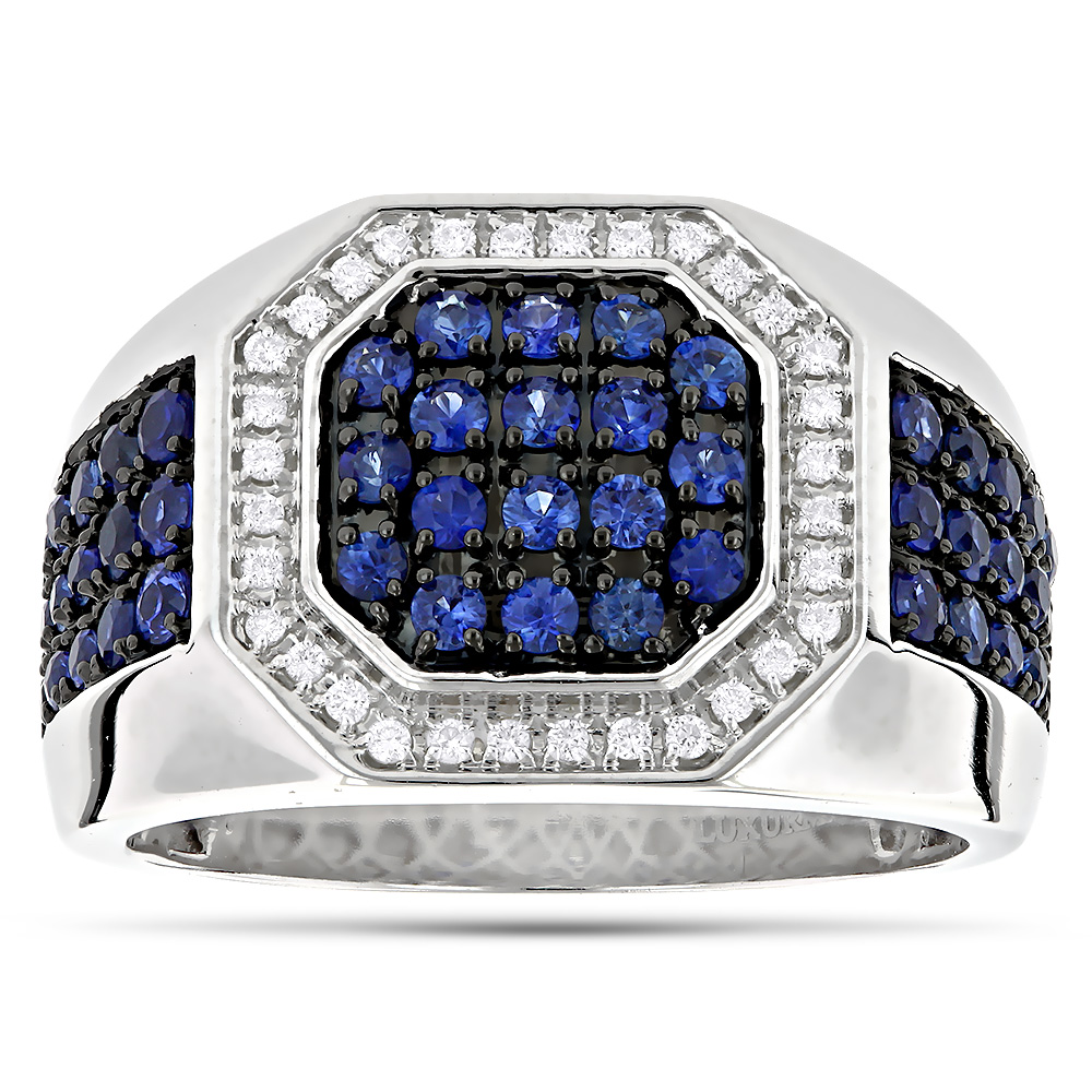 Unique 14K Gold Diamond and Blue Sapphire Mens Ring by Luxurman 1.8ctw White Image