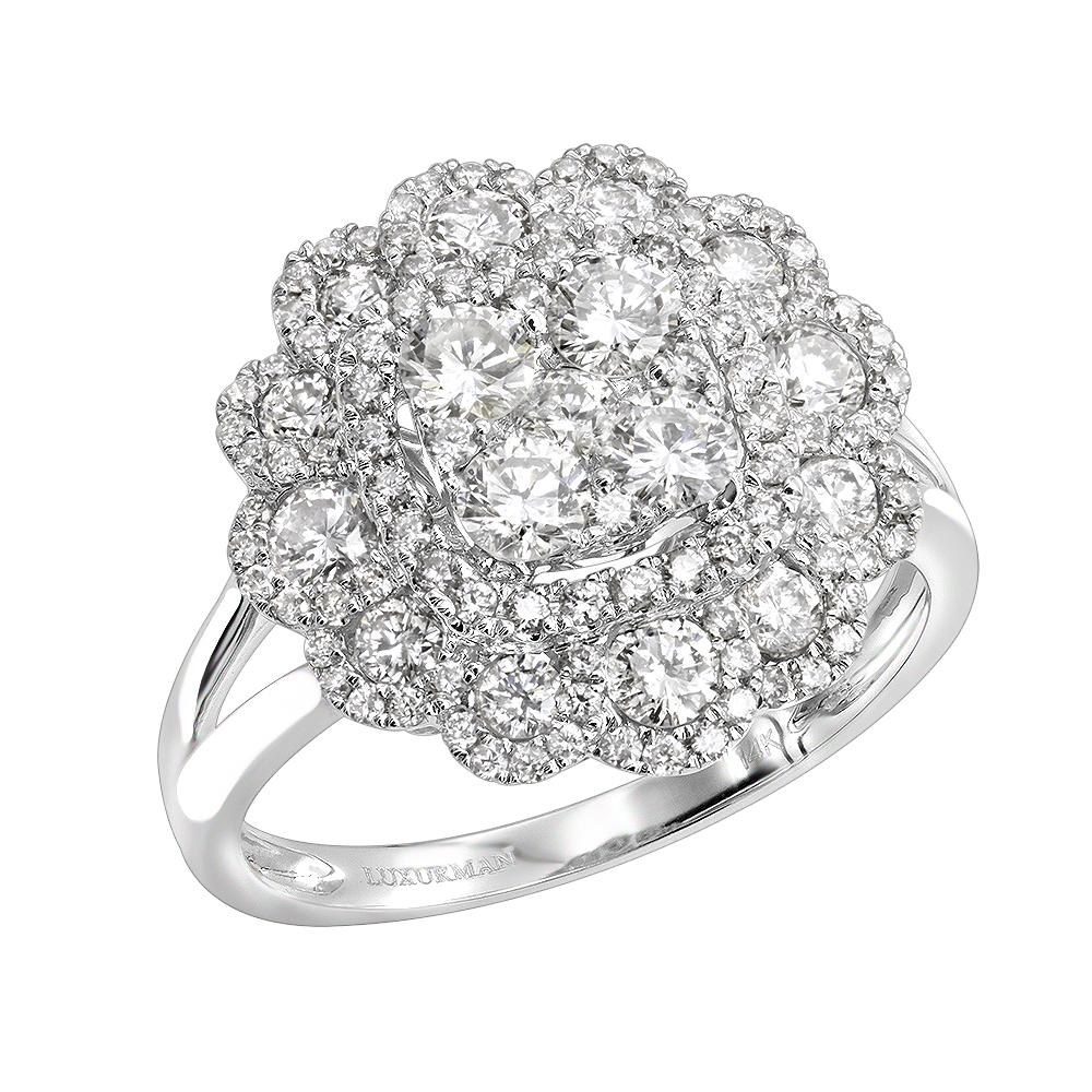 Unique 14k Gold Diamond Cluster Flower Ring for Women 1.5ct by Luxurman White Image