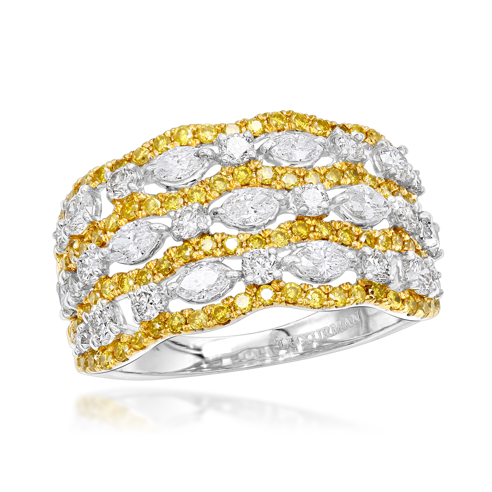 Unique 14K Gold Marquise Round Yellow White Diamond Cocktail Ring for Women