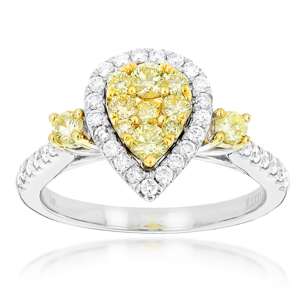 Unique 14K Gold One Carat Yellow White Diamond Ring for Women by Luxurman White Image