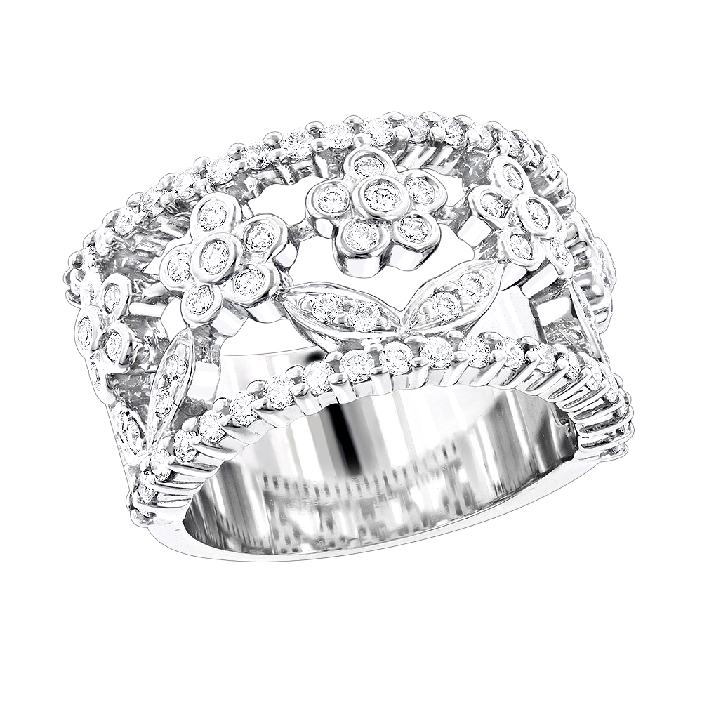 Unique 14K Gold Round Diamond Flower Ring for Women by Luxurman 0.82ct White Image