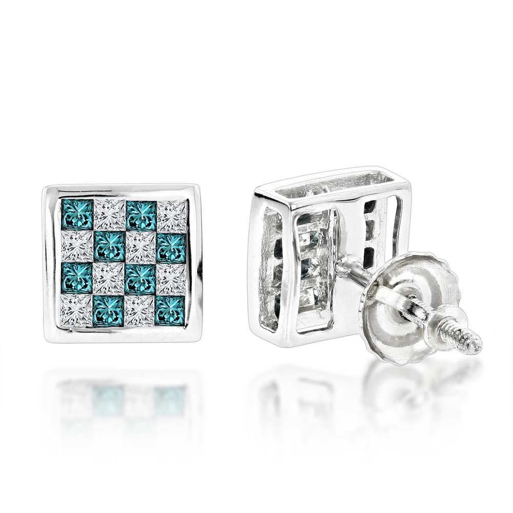 Unique 14K Gold White and Blue Princess Cut Diamond Earrings Studs 0.65ct White Image