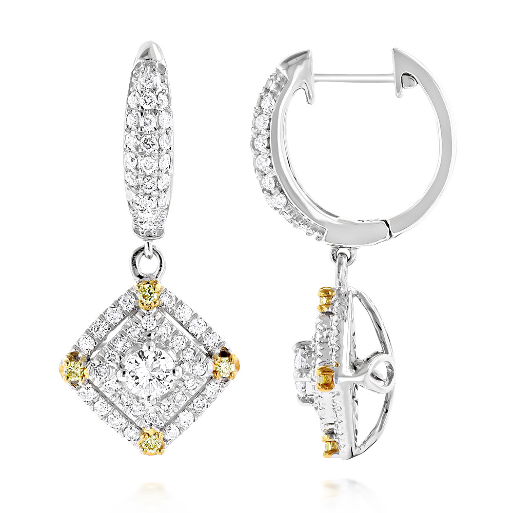 Unique 14K Gold White and Yellow Diamond Earrings for Women Drop Design