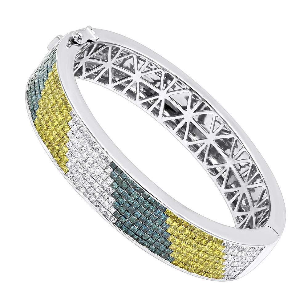 Unique 14K Gold White Yellow Blue Diamond Bangle Bracelet for Men 13.5ct  White Image