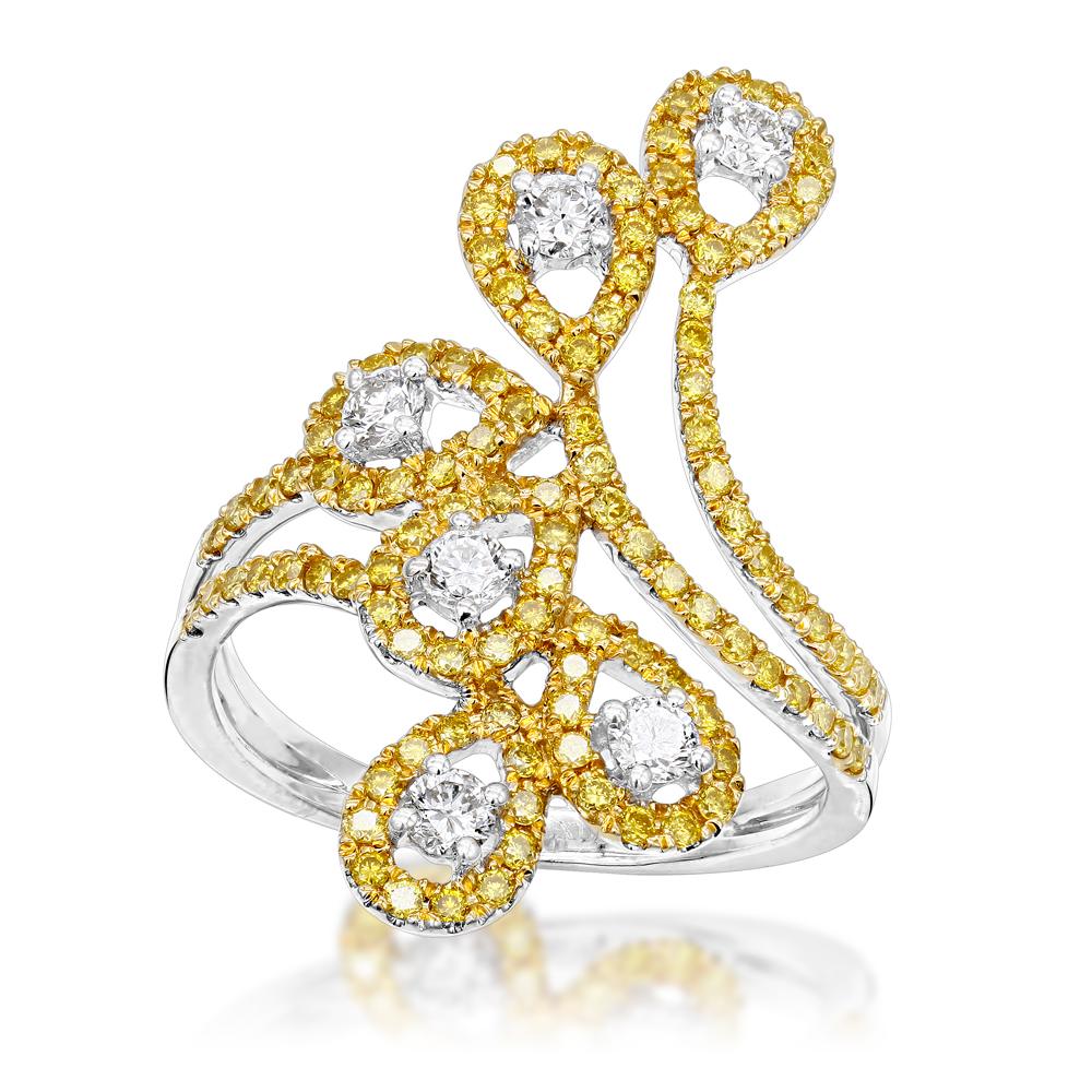 Unique 14K Gold White Yellow Diamond Floral Ring for Women by Luxurman 1ct White Image