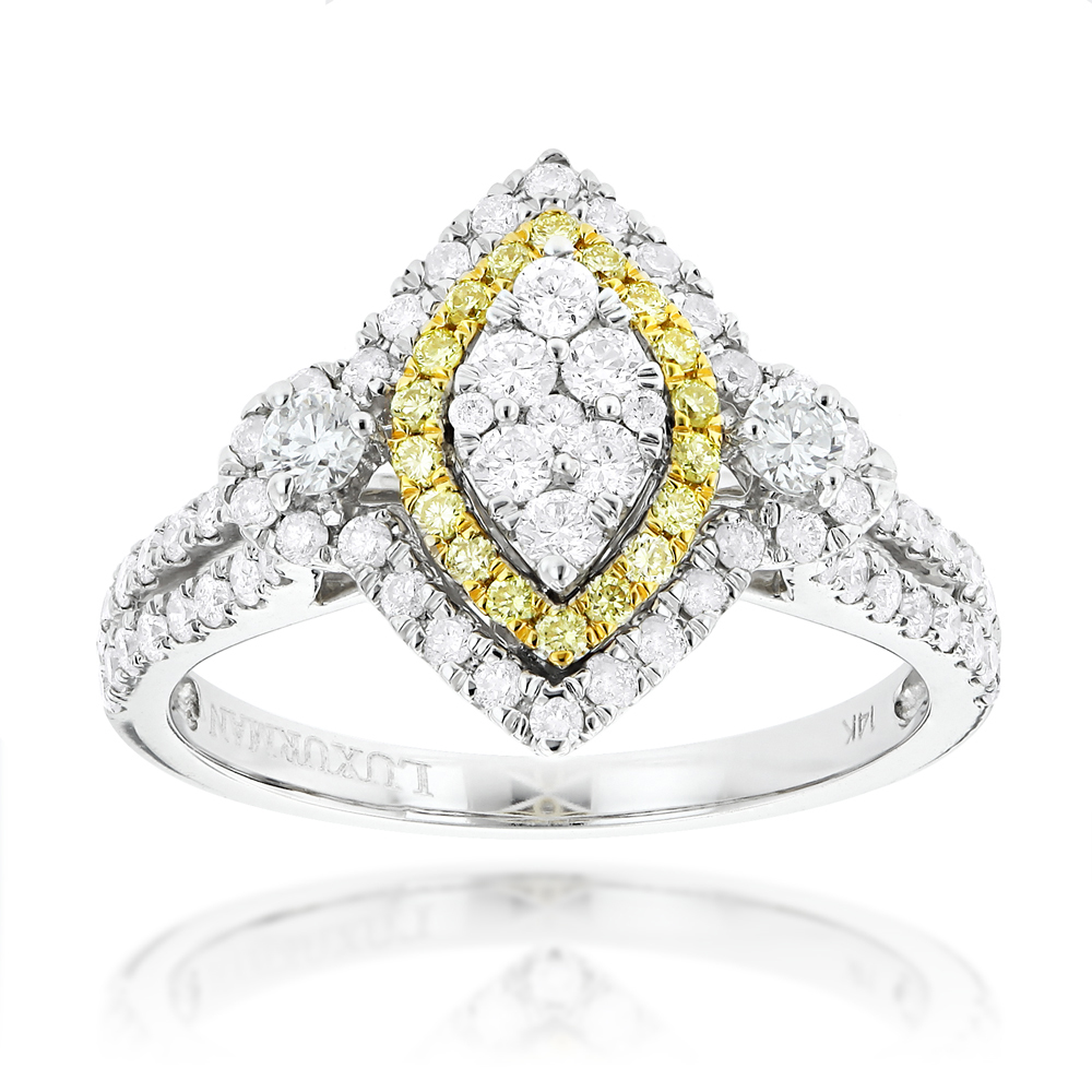 Unique 14K Gold White Yellow Diamond Marquise Shape Engagement Ring 1.3ct White Image