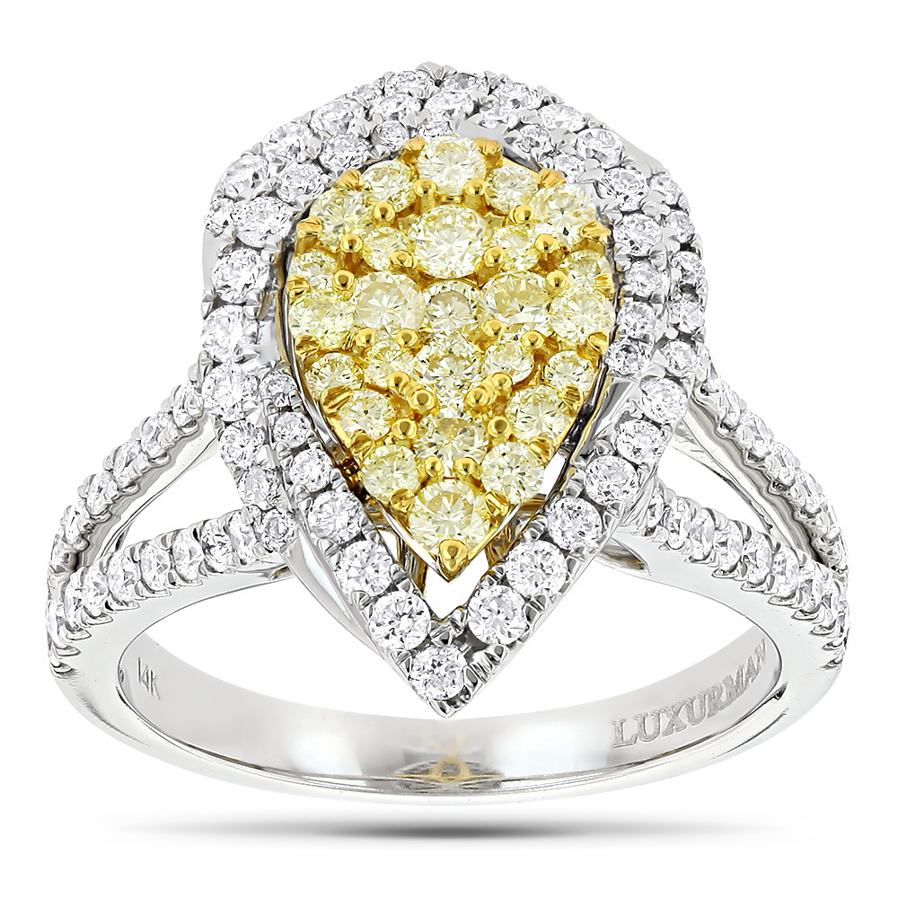 Unique 14K Gold White Yellow Diamond Pear Shape Cluster Ring for Women 1.5c