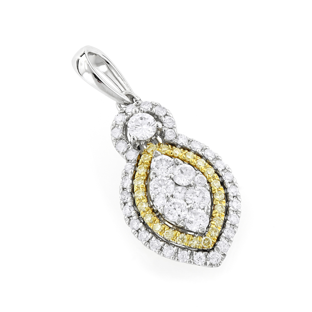 Unique 14K Gold White Yellow Diamond Pendant for Women Marquise Shape 0.9ct