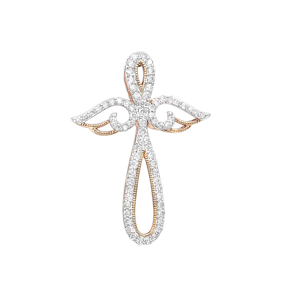 Unique 14k Gold Womens Diamond Cross Pendant with Angel Wings 0.25ct by Luxurman Rose Image