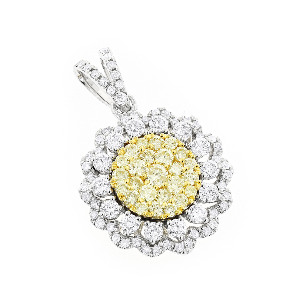 Unique 14K Gold Yellow Diamond Ladies Flower Pendant 2.25ct by Luxurman White Image