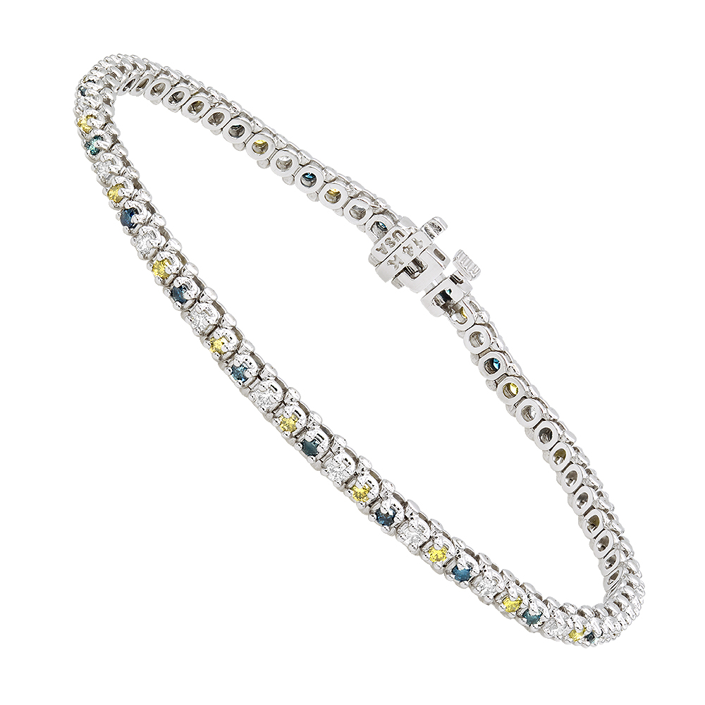 Unique 14K Gold Yellow White Blue Diamond Tennis Bracelet for Women 1.5ct White Image