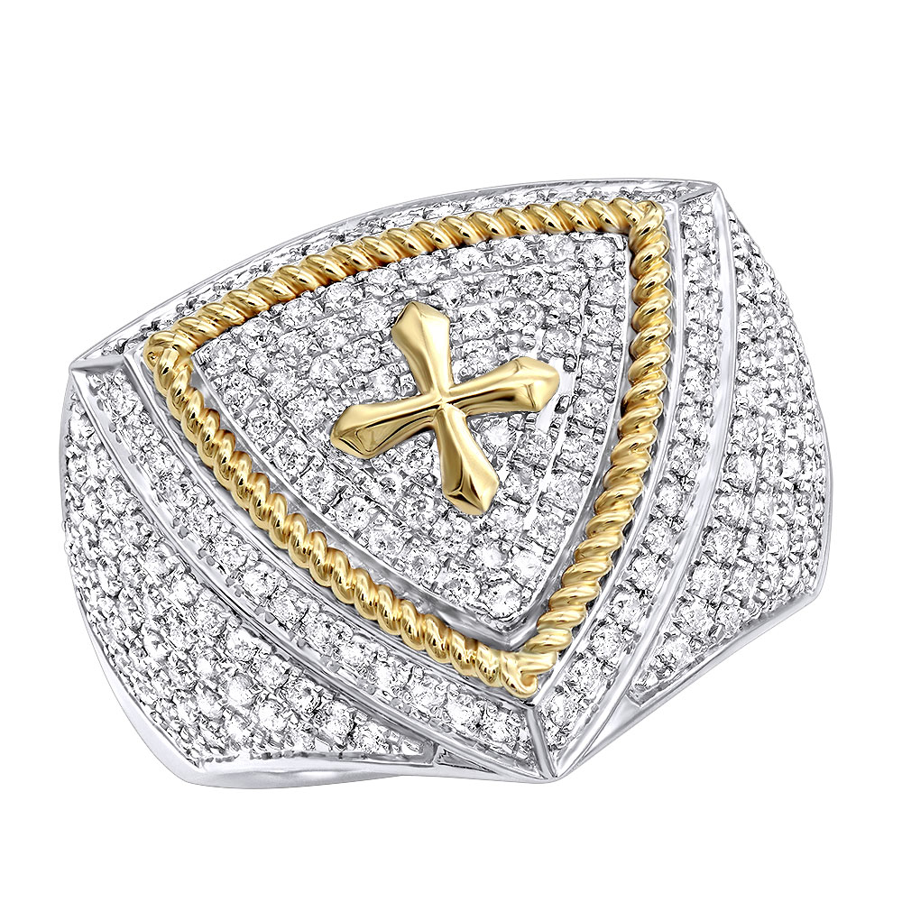 Unique 14k Yellow White Gold Cross Diamond Ring for Men by Luxurman 1.5ct White Image