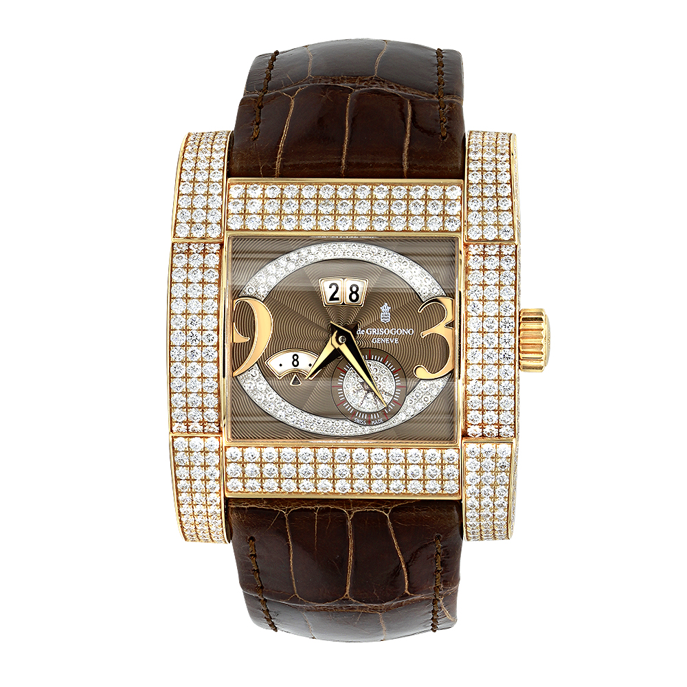 Unique 18K Gold De Grisogono Novantatre Automatic Men's Diamond Watch 20ct main