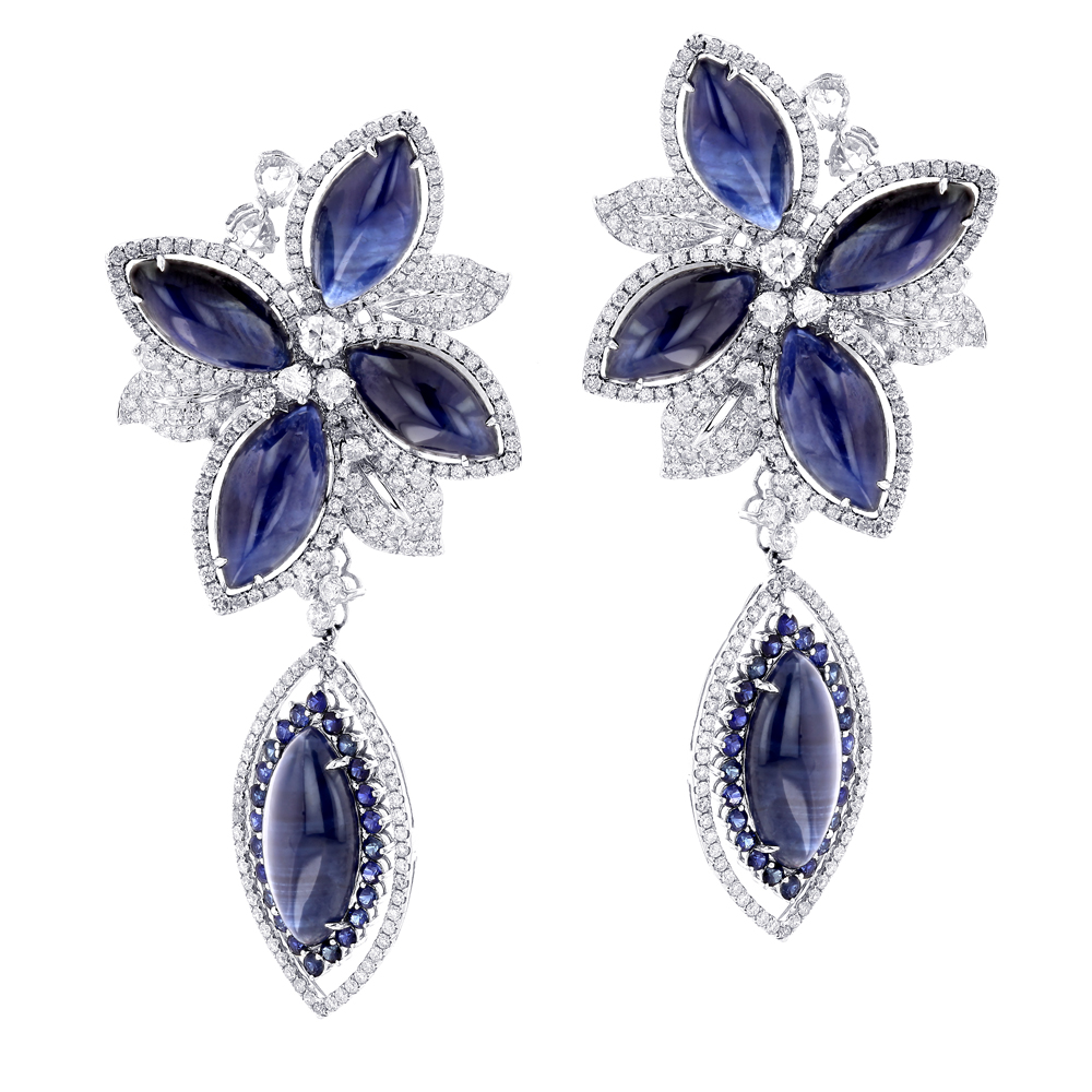 Unique 18K Gold Ladies Designer Diamond Flower Earrings Blue Sapphires unique-18k-gold-ladies-designer-diamond-flower-earrings-blue-sapphires_1