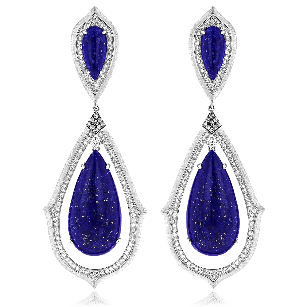 Unique 18K Gold Ladies Lazurite Diamond Drop Earrings 1.12ct unique-18k-gold-ladies-lazurite-diamond-drop-earrings-112ct_1