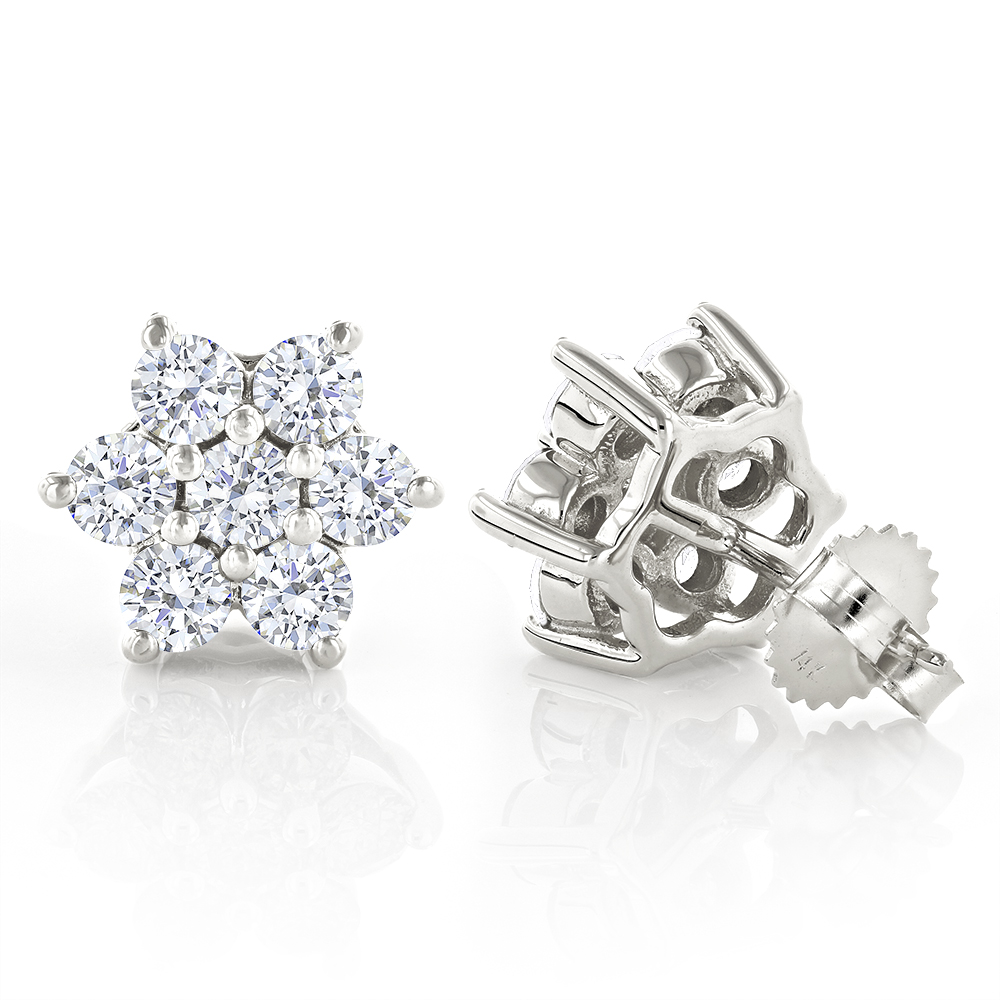 Unique 2.5 Carat Diamond Stud Earrings Cluster Star Design 14K Gold White Image