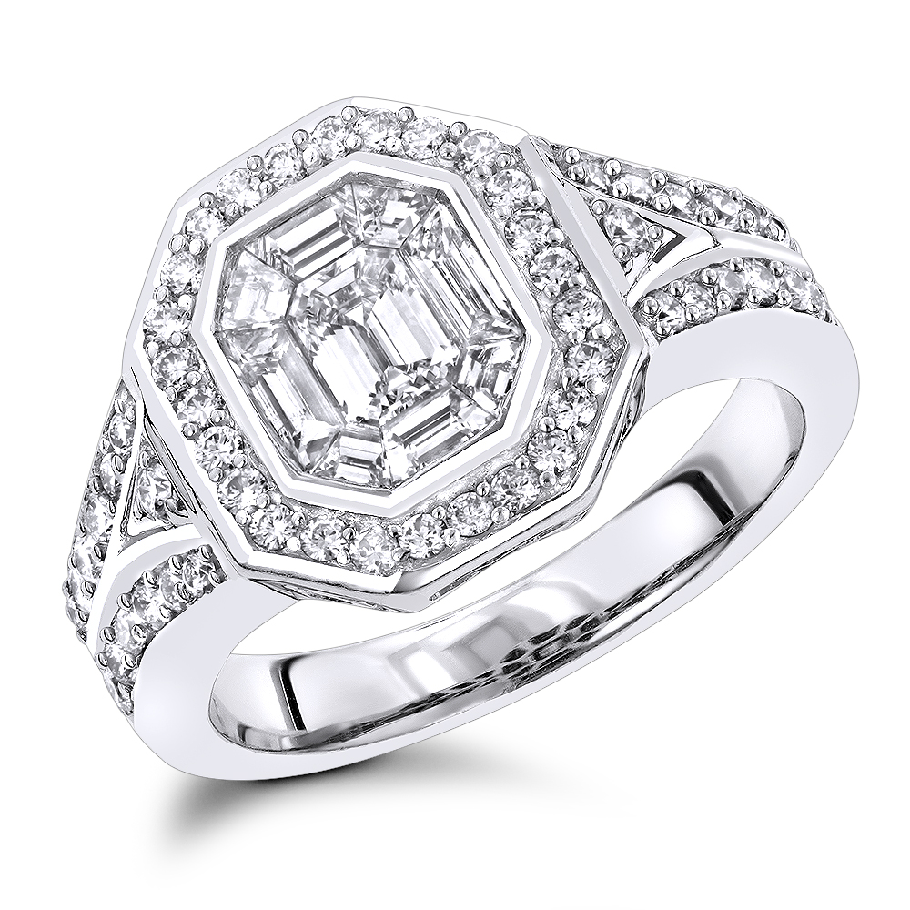 Unique 3 Carat Look Halo Emerald Cut Diamond Engagement Ring in 14k Gold White Image