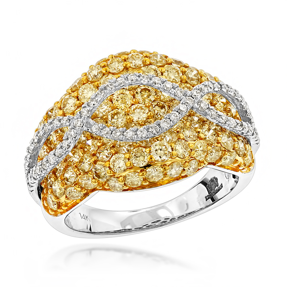 Unique 3.7ct Ladies White Yellow Diamond Cocktail Ring 14K Gold by Luxurman White Image