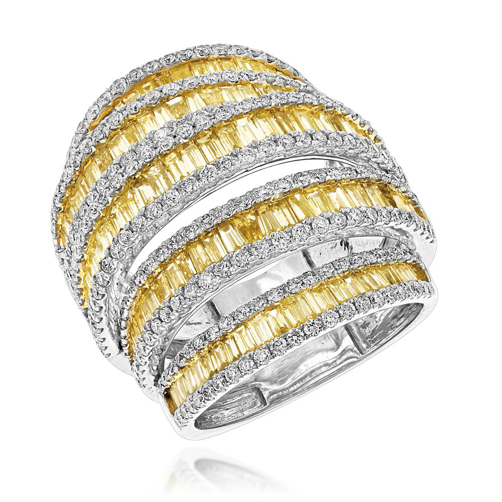Unique 7ct Ladies White Yellow Diamond Cocktail Ring 14K Gold by Luxurman White Image