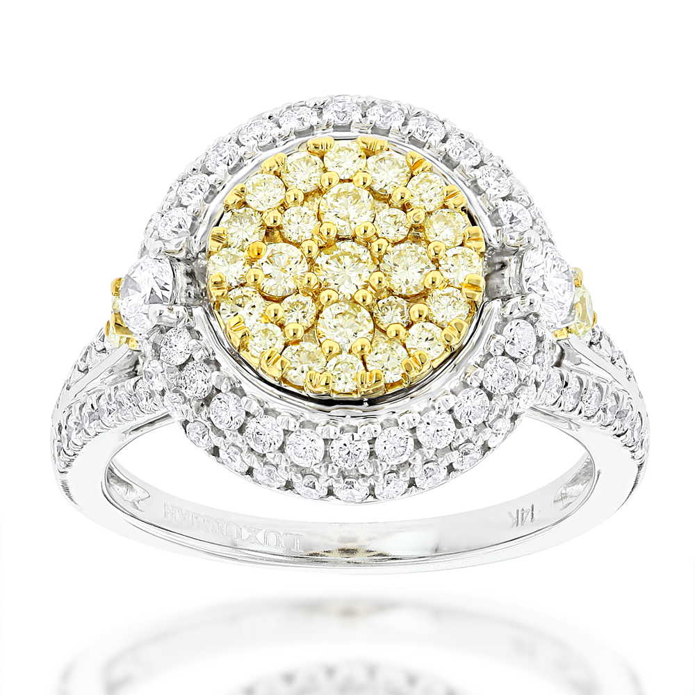 Unique Cluster Rings: White Yellow Diamonds Ring for Women 14k Gold 1.7ct