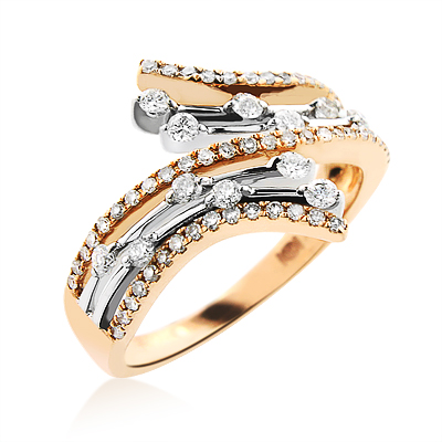 Unique Designer Diamond Ring 0.59ct 14KGold