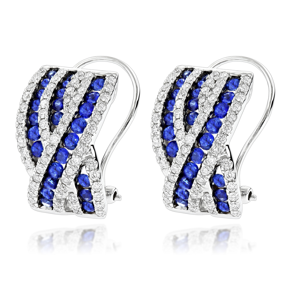 Unique Designer Diamonds and Blue Sapphires Earrings for Her 14k Gold White Image