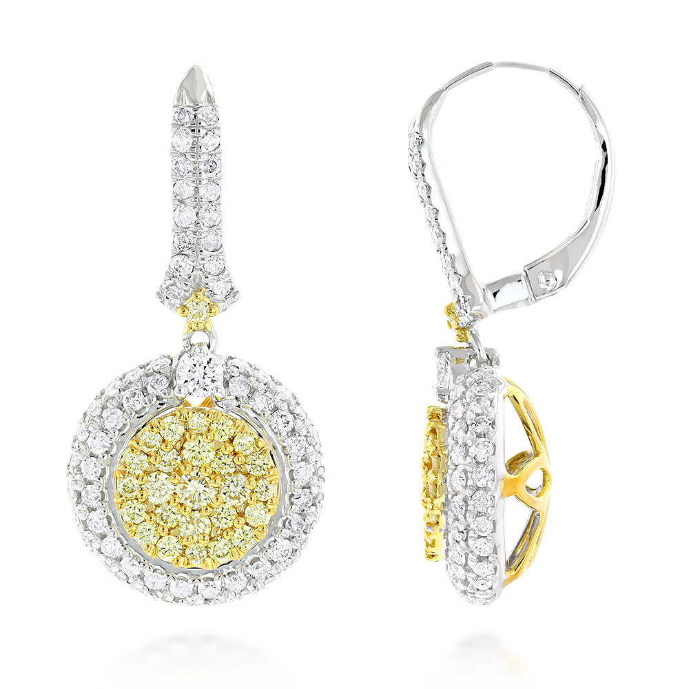 Unique Designer Ladies White & Yellow Diamond Earrings by Luxurman 14k Gold White Image