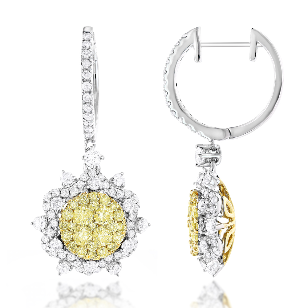Unique Designer Ladies White Yellow Diamonds Flower Drop Earrings 14K Gold White Image