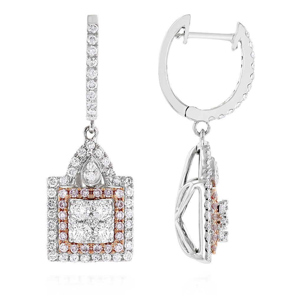 Unique Designer White and Pink Diamond Earrings for Women 14K Gold 1.75ct White Image