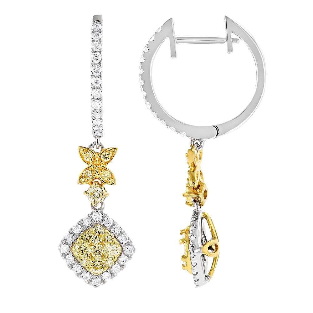 Unique Designer White & Yellow Diamond Ladies Earrings with Leafs 14k Gold White Image