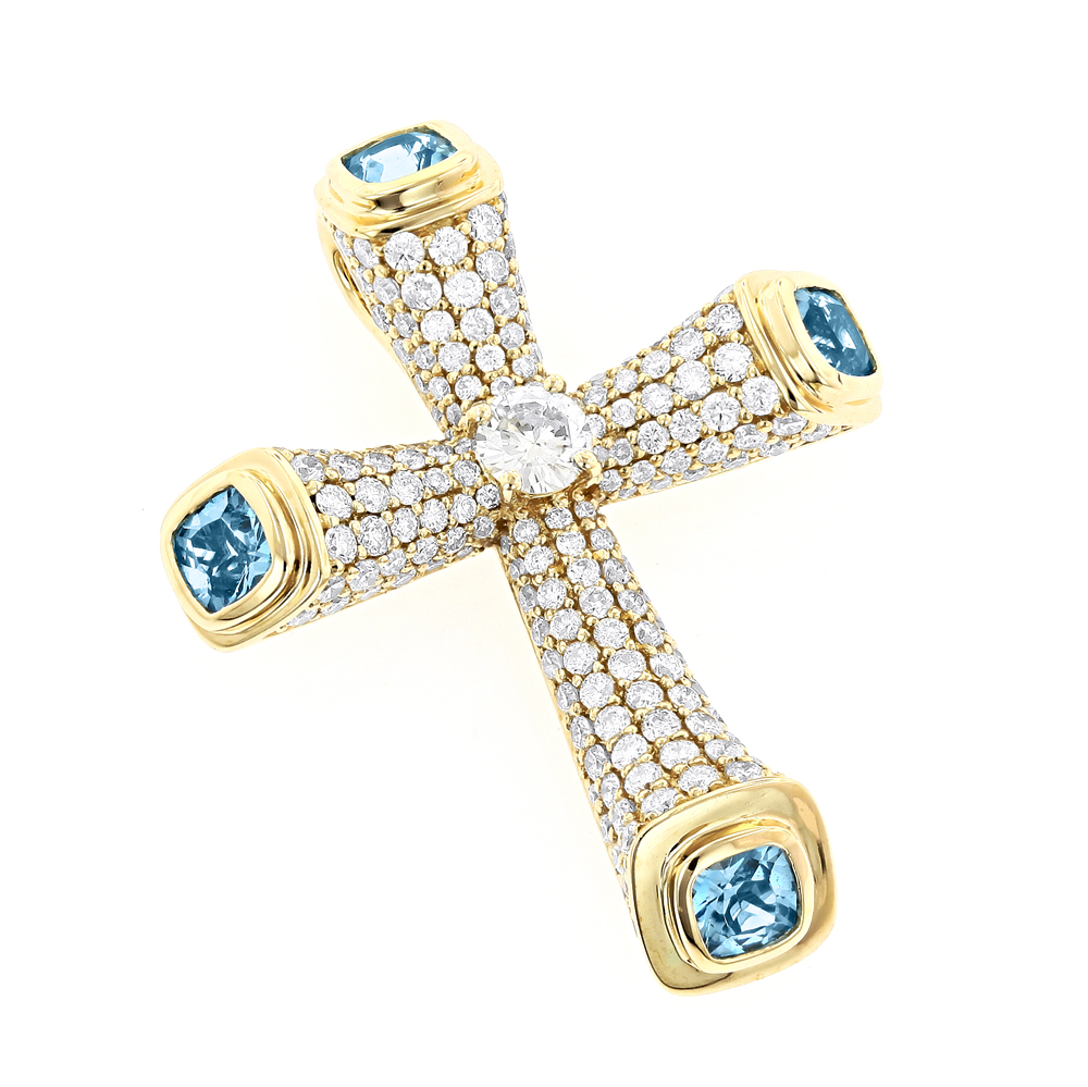 Unique diamond cross pendant with blue topaz in 14k yellow white unique diamond cross pendant with blue topaz in 14k yellow white rose gold aloadofball Image collections