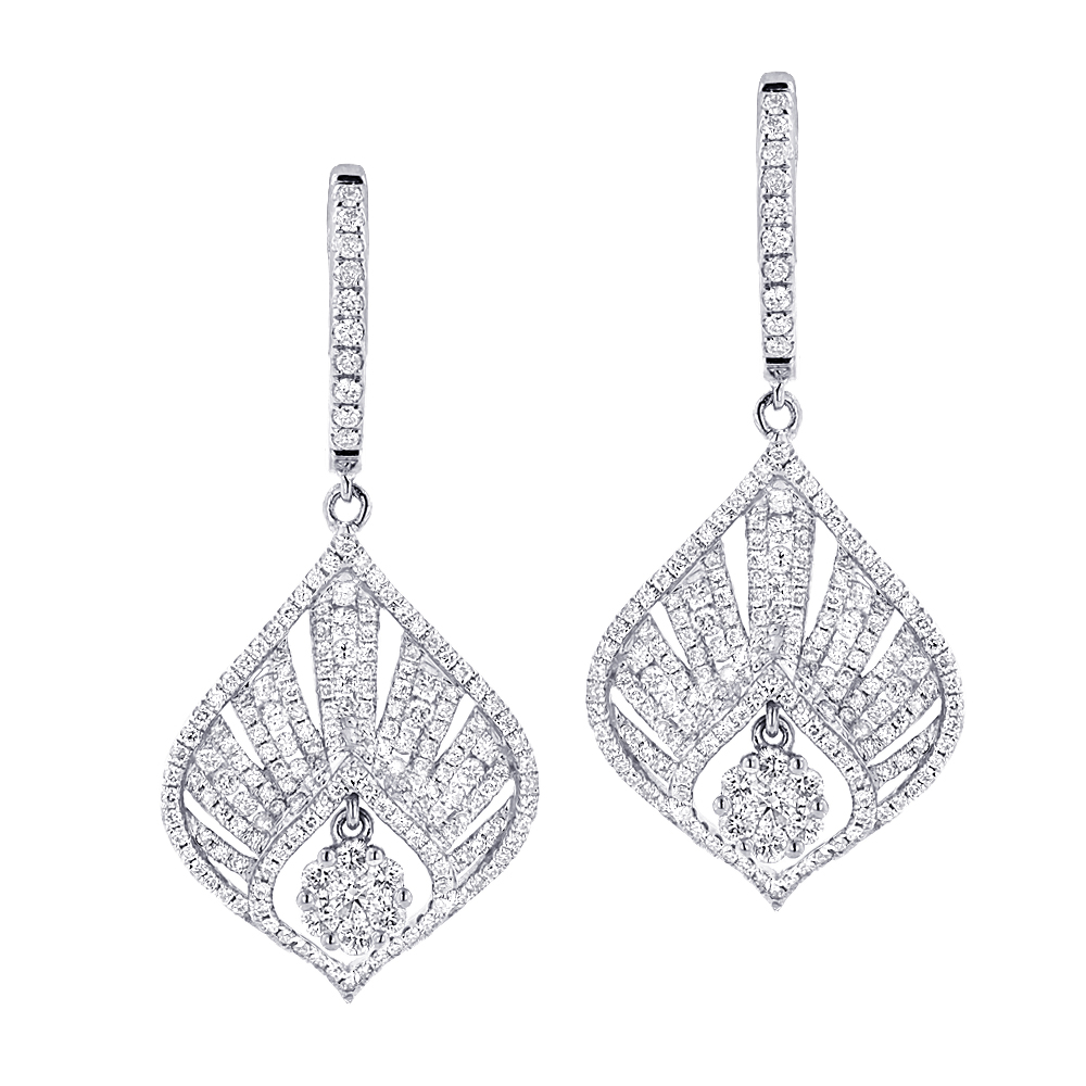 Unique Diamond Drop Earrings For Women 2.4ct 14k Gold