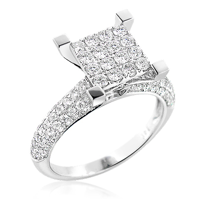 Unique Diamond Engagement Ring 1.47ct 14K Gold