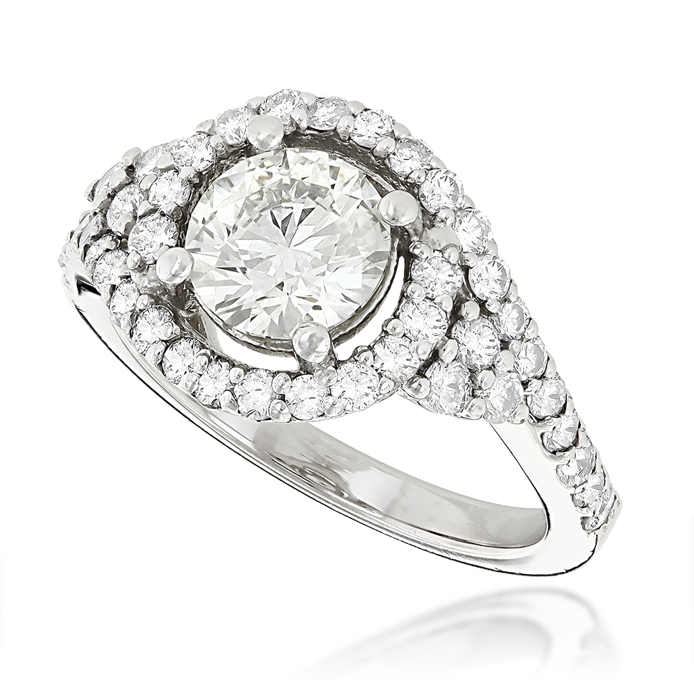Unique Diamond Engagement Ring Halo Design 1.85ct 14K Gold