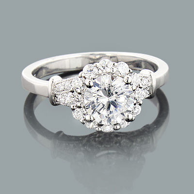 Halo Unique Diamond Engagement Ring Mounting 0.48ct 14K Gold