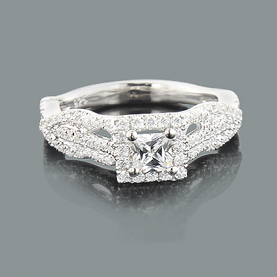 Halo Unique Diamond Engagement Ring Mounting 0.64ct 14K
