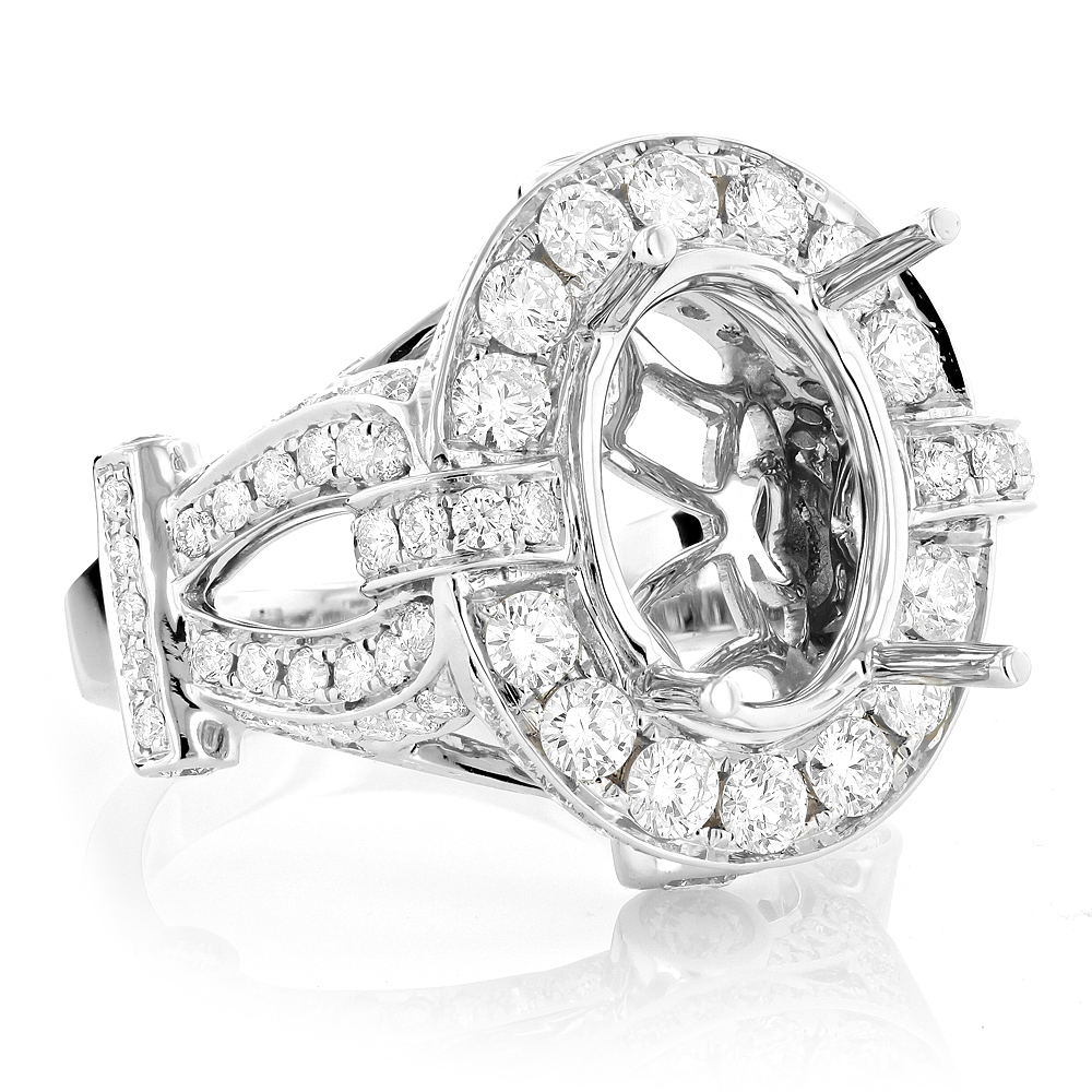 Unique Diamond Engagement Ring Mounting 3.5ct 18K Gold Oval Halo Setting