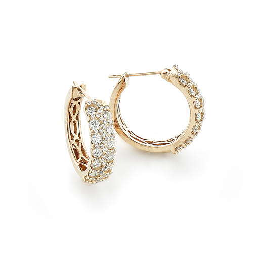 Unique Diamond Hoop Earrings 1.58ct 14K Gold Main Image