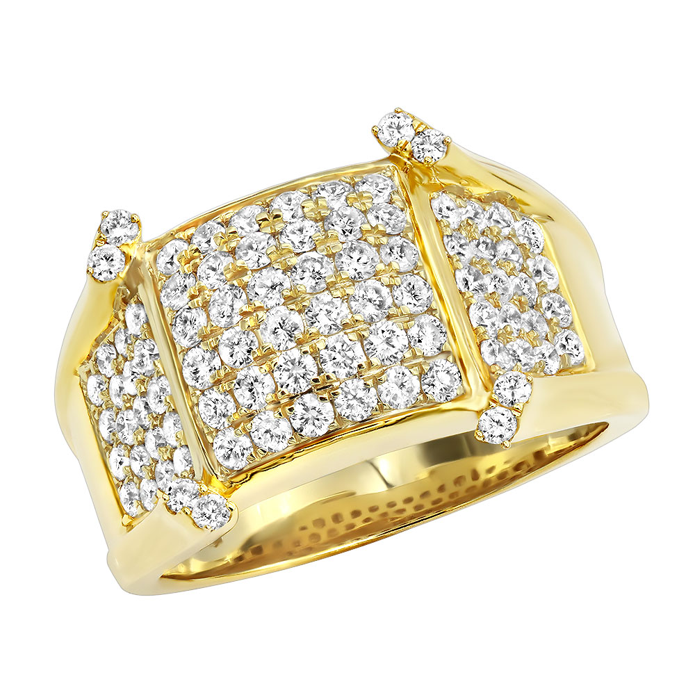 Unique Diamond Pinky Rings Luxurman Mens Diamond Ring in 14k Gold 1.75ct Yellow Image