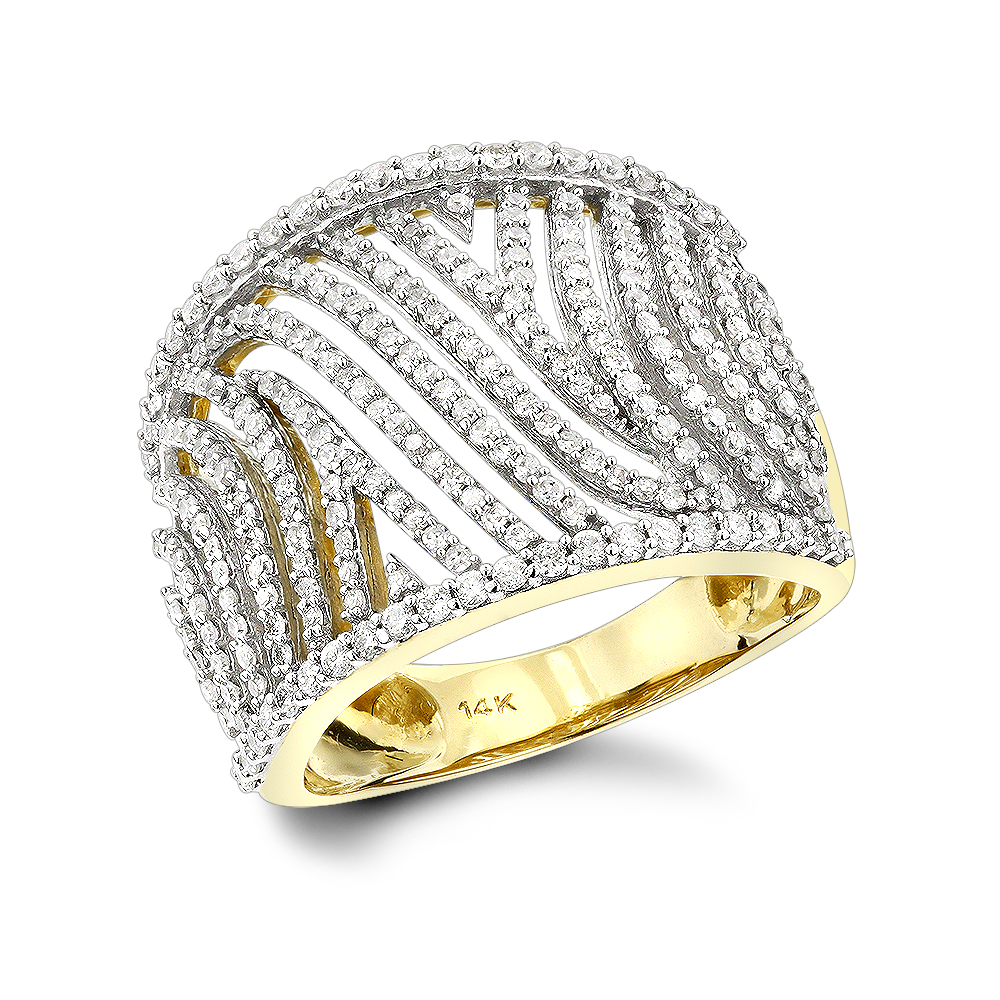 Unique Diamond Rings: 14K Cut-Out Diamond Ring 1ct Yellow Image