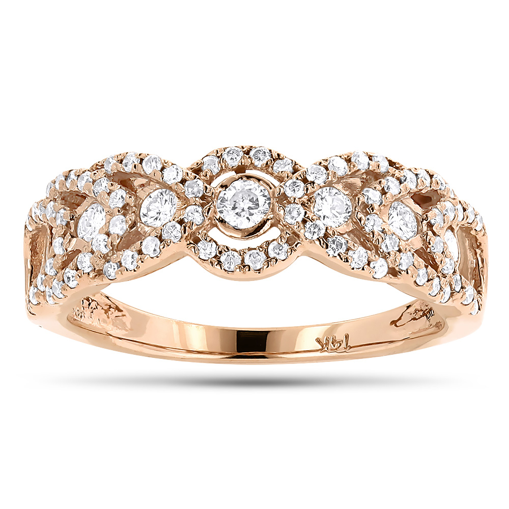 Unique Diamond Wedding Band For Women 14K Gold Ladies Diamond Ring 1ct Rose Image