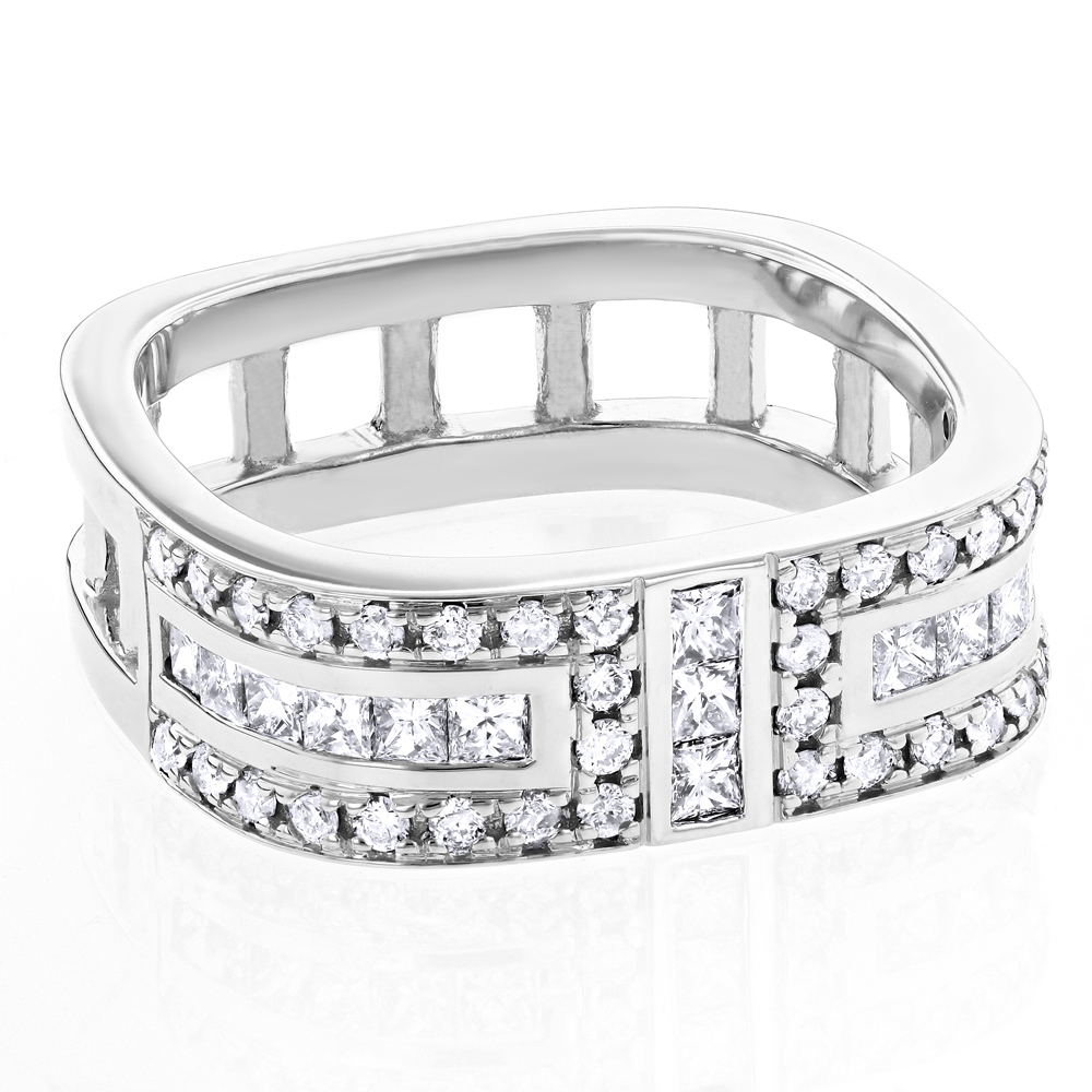 Unique Diamond Wedding Bands: Square Mens Ring 1.2ct 14K Gold White Image