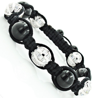 Unique Disco Ball Jewelry: Black Bead Bracelet with Crystals