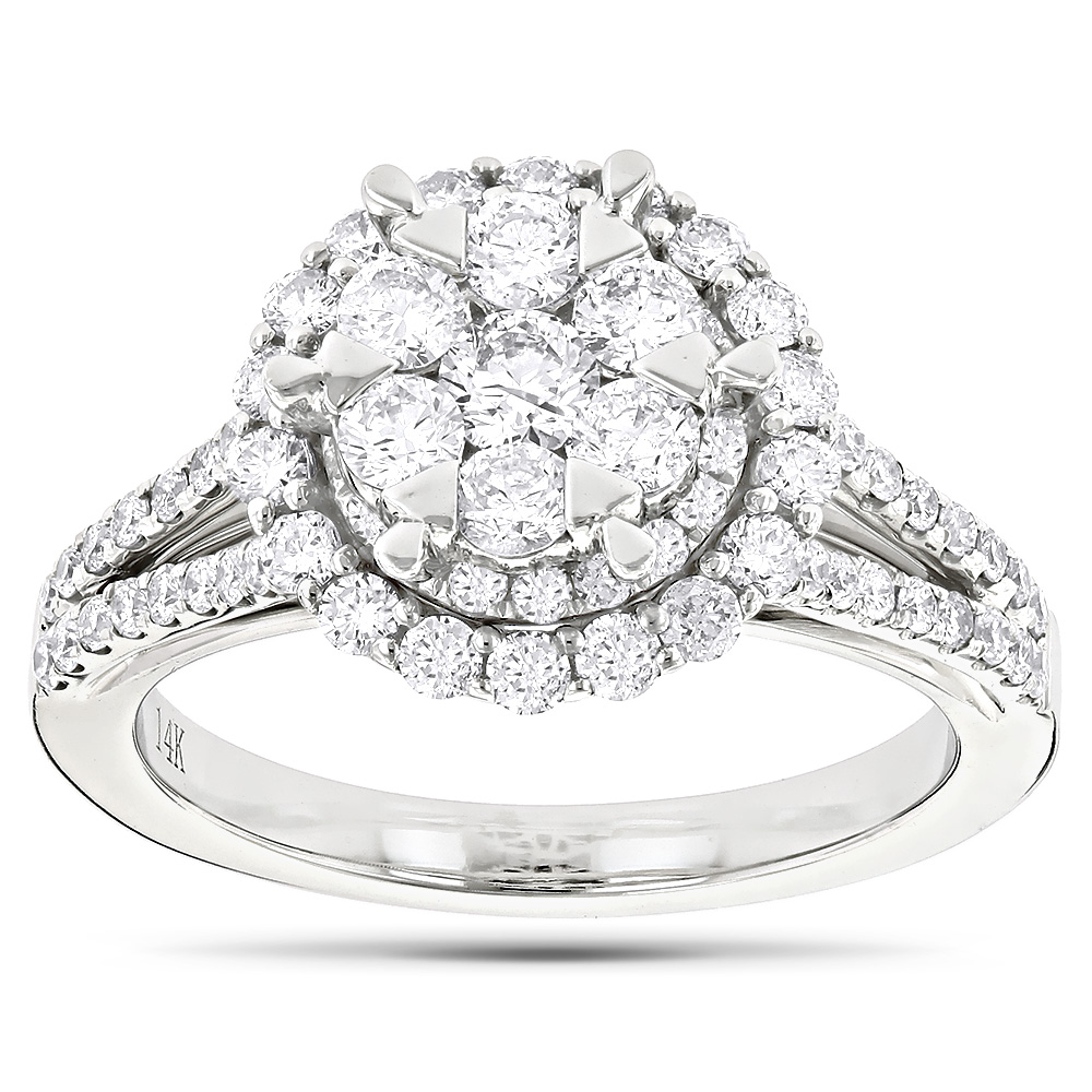 Unique Engagement Cluster Diamond Ring 1.7ct 14K Gold Main Image